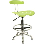 Flash Furniture Low-Back Molded Plastic Drafting Stool, Armless, Green