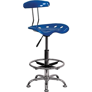 Flash Furniture Chrome Low Back Drafting Stool With Tractor Seat, Vibrant Bright Blue