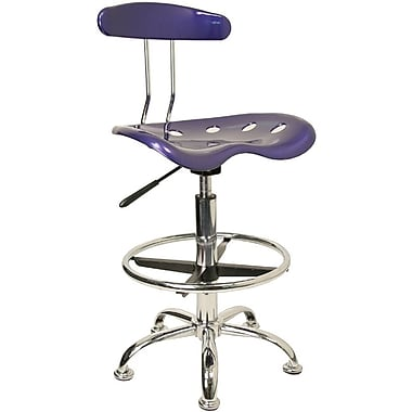 Flash Furniture Chrome Low Back Drafting Stool With Tractor Seat, Vibrant Deep Blue