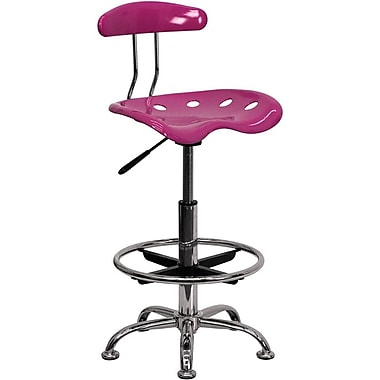 Flash Furniture Low Back Polymer Drafting Stool With Tractor Seat, Vibrant Pink