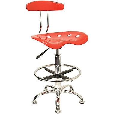 Flash Furniture Low Back Polymer Drafting Stool With Tractor Seat, Vibrant Red