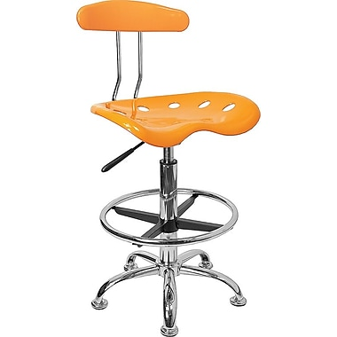 Flash Furniture Low Back Polymer Drafting Stool With Tractor Seat, Vibrant Orange-Yellow