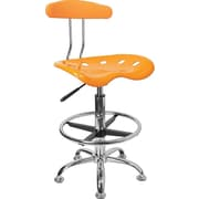 Flash Furniture Vibrant Drafting Stool with Tractor Seat, Orange-Yellow