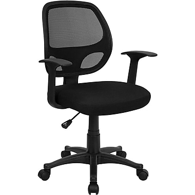 Flash Furniture LFW118ABK Mesh Mid-Back Task Chair with Fixed Arms, Black