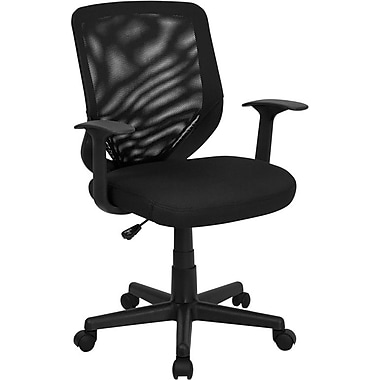 Flash Furniture Mid Back Mesh Office Chair With Nylon T-Arms, Black