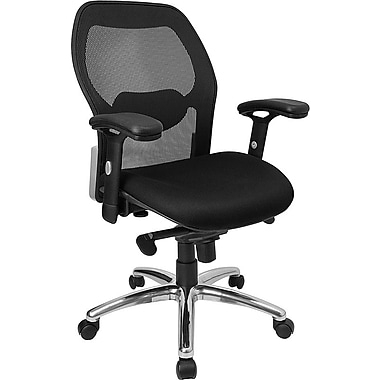 Flash Furniture Mid Back Super Mesh Office Chair With Black Fabric Seat and Knee Tilt Control, Black
