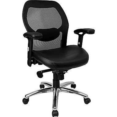 Flash Furniture Mid Back Mesh Office Chair With Italian Leather Seat and Knee Tilt Control, Black