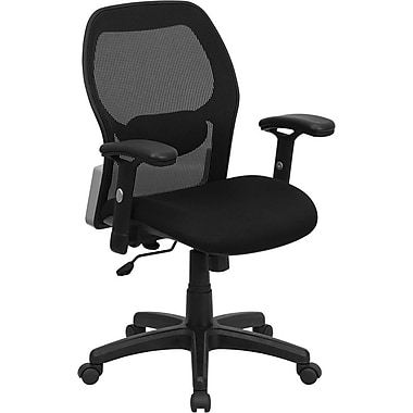 Flash Furniture Mid Back Super Mesh Office Chair With Black Fabric Seat, Black