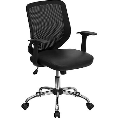 Flash Furniture LFW95LEABK Leather Mid-Back Task Chair with Fixed Arms, Black