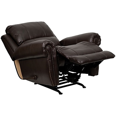 Flash Furniture Plush 41in.H Leather Rocker Recliner, Brown