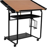 Flash Furniture Adjustable Drawing and Drafting Table with Black Frame and Dual Wheel Casters, Cherry