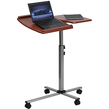 Flash Furniture Angle and Height Adjustable Mobile Laptop Computer Table, Cherry