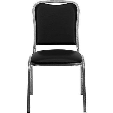 Flash Furniture HERCULES Series Stacking Banquet Chair with Black Vinyl and Silver Vein Frame Finish, 4/Pack