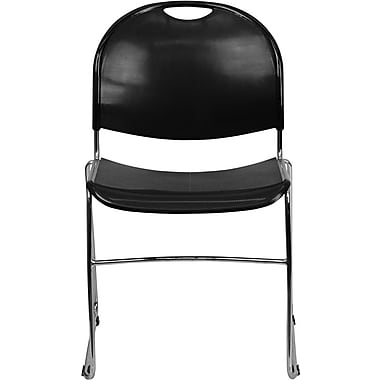 Flash Furniture HERCULES™ Polypropylene Chrome Frame Ultra Compact Stack Chair, Black, 30/Pack