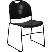 Flash Furniture HERCULES Series 880 lb. Capacity High Density, Ultra Compact Stack Chair with Black Frame, Black