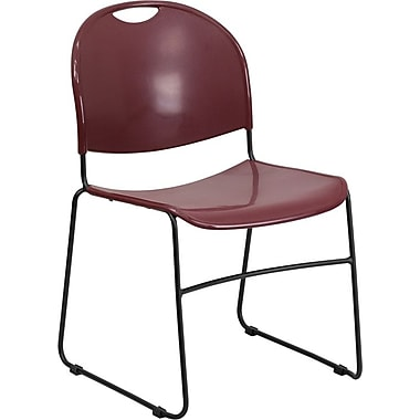 Flash Furniture HERCULES™ Polypropylene Black Frame Ultra Compact Stack Chair, Burgundy
