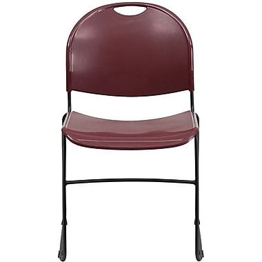 Flash Furniture HERCULES™ Polypropylene Black Frame Ultra Compact Stack Chair, Burgundy, 30/Pack