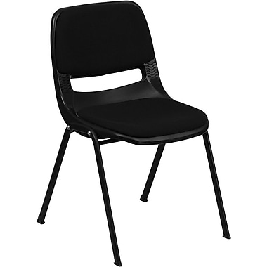 Flash Furniture HERCULES™ Padded Seat and Back Plastic Ergonomic Shell Stack Chair, Black