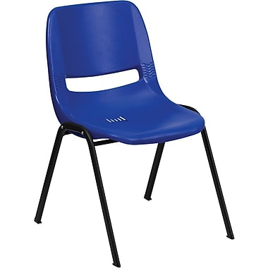 Flash Furniture HERCULES™ Plastic Ergonomic Shell Stack Chair, Blue