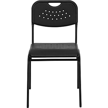 Flash Furniture HERCULES Series 880 lb. Capacity Plastic Stack Chair with Black Powder Coated Frame, Black