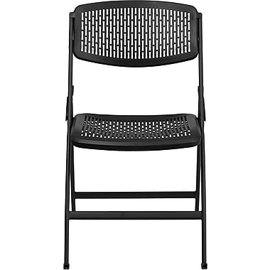Flash Furniture HERCULES Series 990 lb. Designer Comfort Molded Folding Chair, Black, 30/Pack
