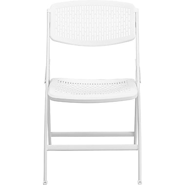 Flash Furniture HERCULES™ Comfort Molded Plastic Armless Folding Chair, White, 30/Pack
