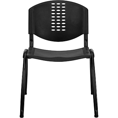 Flash Furniture HERCULES Series 880 lb. Capacity Polypropylene Stack Chair with Black Frame Finish, Black