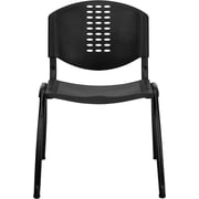 Flash Furniture HERCULES Series 880 lb. Capacity Polypropylene Stack Chair with Black Frame Finish, Black, 15/Pack