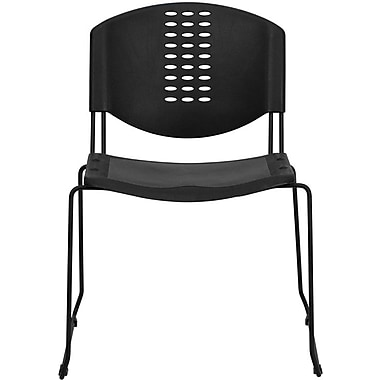 Flash Furniture HERCULES Series 400 lb. Capacity Plastic Stack Chair with Black Powder Coated Frame Finish, Black