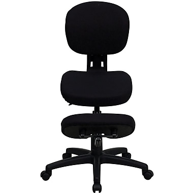 Flash Furniture Mobile Ergonomic Fabric Kneeling Posture Task Chair Fabric with Back, Black