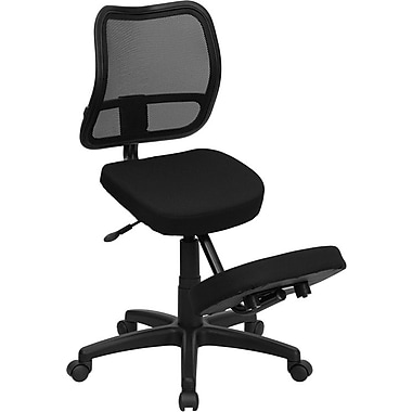 Flash Furniture Mobile Ergonomic Kneeling Task Chair with Curved Mesh Back and Fabric Seat, Black