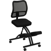 Flash Furniture Mobile Ergonomic Kneeling Chair with Curved Mesh Back and Fabric Seat, Black