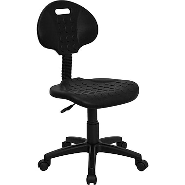 Flash Furniture Tuff Buttin. Soft Polypropylene Mid Back Utility Task Chair, Black