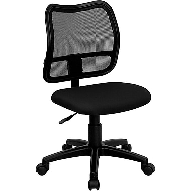 Flash Furniture Mid-Back Curved Mesh Task Chair with Fabric Seat, Black