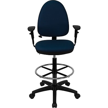 Flash Furniture Mid-Back Fabric Multi-Functional Drafting Stool with Arms and Adjustable Lumbar Support, Navy Blue