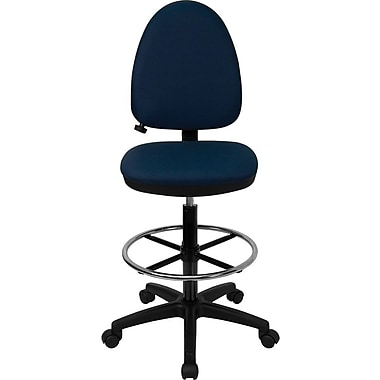 Flash Furniture Mid-Back Fabric Multi-Functional Drafting Stool with Adjustable Lumbar Support, Navy Blue