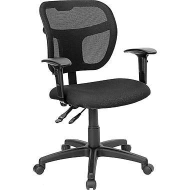 Flash Furniture Mid-Back Multi-Functional Mesh Task Chair with Fabric Seat and Arms, Black