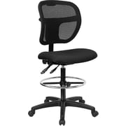 Flash Furniture Mid-Back Mesh Drafting Stool with Fabric Seat, Black