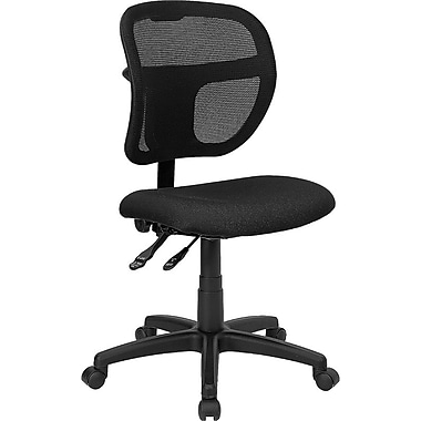 Flash Furniture Mid-Back Multi-Functional Mesh Task Chair with Fabric Seat, Black