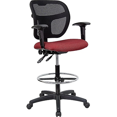 Flash Furniture Mid-Back Mesh Drafting Stool with Fabric Seat and Arms, Burgundy