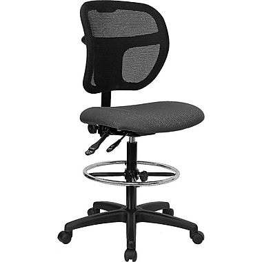 Flash Furniture Mid-Back Multi-Functional Mesh Drafting Stool with Fabric Seat, Gray