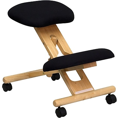 Flash Furniture Mobile Wooden Ergonomic Fabric Kneeling Chair, Black