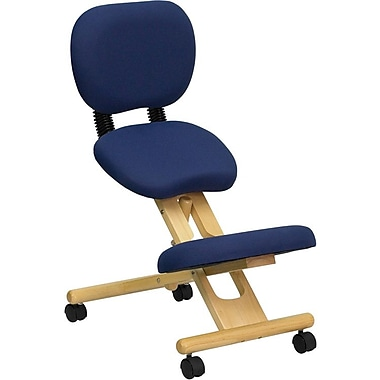 Flash Furniture Wooden Fabric Ergonomic Kneeling Chair With Reclining Back, Navy Blue