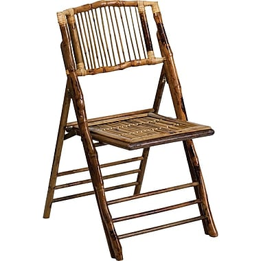 Flash Furniture American Champion Bamboo Armless Folding Chair, Wood, 24/Pack