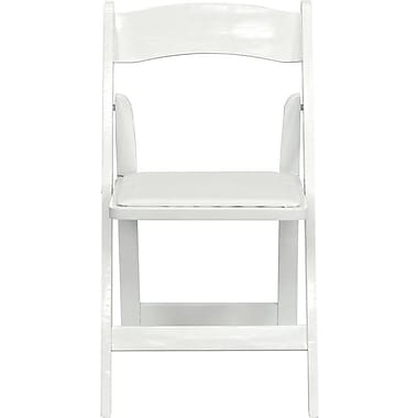 Flash Furniture HERCULES Series Wood Folding Chair - Padded Vinyl Seat, White, 80/Pack