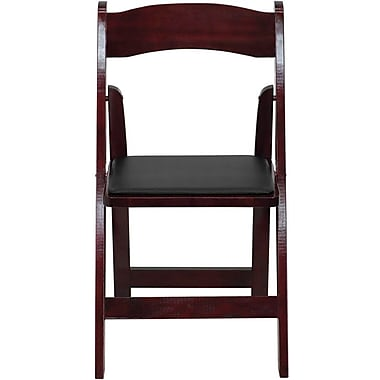 Flash Furniture HERCULES Series Wood Folding Chair - Padded Vinyl Seat, Mahogany, 80/Pack