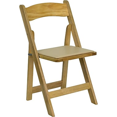 Flash Furniture HERCULES Series Wood Folding Chair - Padded Vinyl Seat, Natural, 4/Pack