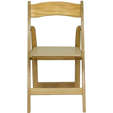 Flash Furniture HERCULES Series Wood Folding Chair - Padded Vinyl Seat, Natural, 24/Pack