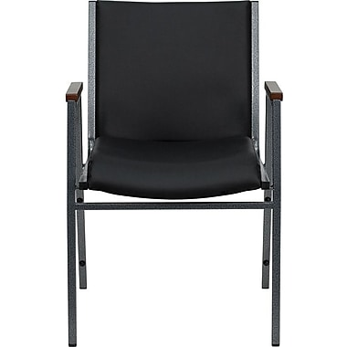 Flash Furniture HERCULES Series Heavy Duty, 3'' Thickly Padded, Upholstered Stack Chair with Arms, Black Vinyl