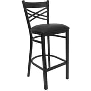 "Flash Furniture HERCULES Series Black ""X"" Back Metal Restaurant Bar Stool, Black Vinyl Seat"